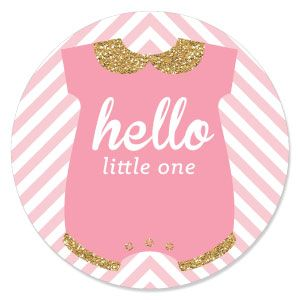 Hello Little One   Pink And Gold   Girl Baby Shower Theme