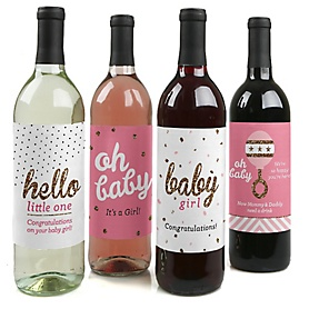Hello Little One - Pink and Gold - Decorations for Women and Men - Wine Bottle Labels Girl Baby Gift - Set of 4