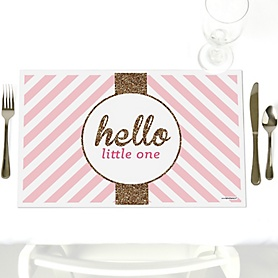 Hello Little One - Pink and Gold - Party Table Decorations - Girl Baby Shower Placemats - Set of 12