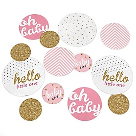 Hello Little One - Pink and Gold - Girl Baby Shower Giant Circle Confetti - Baby Shower Decorations - Large Confetti 27 Count