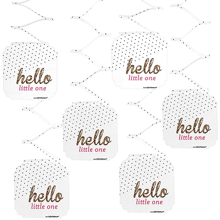 Hello Little One - Pink and Gold - Girl Baby Shower Hanging Decorations - 6 ct
