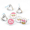 Hello Little One - Pink and Gold - Round Candy Labels Party Favors - Fits Hershey's Kisses - 108 ct