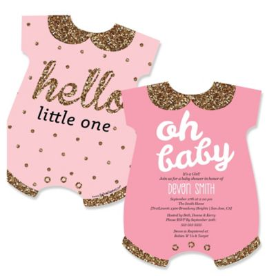 Hello Little One Pink and Gold Baby Bodysuits Shaped Girl Baby
