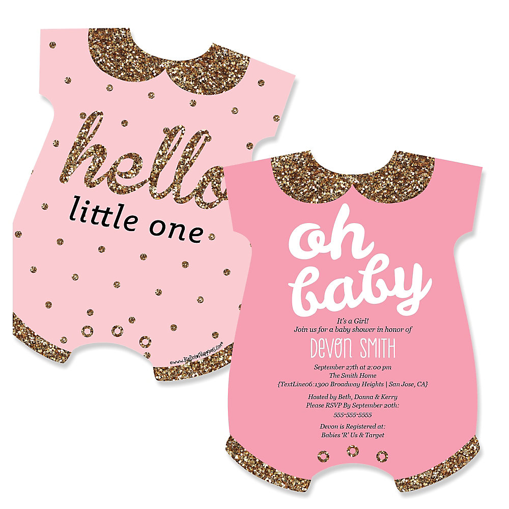 hello little one pink and gold baby bodysuits shaped girl baby shower invitations