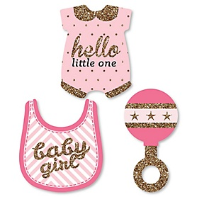 Hello Little One - Pink and Gold - DIY Shaped Girl Baby Shower Paper Cut-Outs - 24 ct