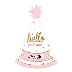 Hello Little One - Pink and Gold - Personalized Mini Cone Girl Baby Shower Party Hats - Small Little Party Hats - Set of 10