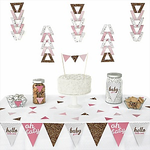 Hello Little One - Pink and Gold - 72 Piece Triangle Girl Baby Shower Decoration Kit