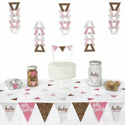 Hello Little One   Pink And Gold   72 Piece Triangle Girl Baby Shower  Decoration Kit