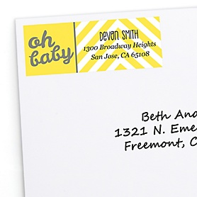 Hello Little One - Yellow and Gray - Personalized Neutral Baby Shower Return Address Labels - 30 ct