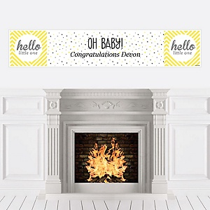 Hello Little One - Yellow and Gray - Personalized Neutral Baby Shower Banners