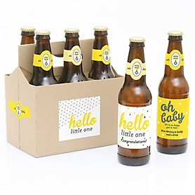 Hello Little One - Yellow and Gray - Decorations for Women and Men - 6 Beer Bottle Labels and 1 Carrier - Baby Gift