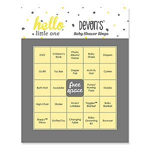 Hello Little One - Yellow and Gray - Bingo Personalized Girl Baby Shower Games - 16 Count