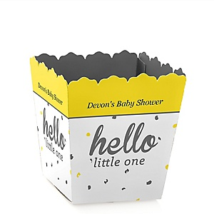 Hello Little One - Yellow and Gray - Personalized Girl Baby Shower Candy Boxes