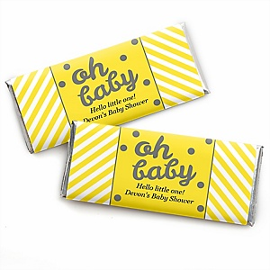 Hello Little One - Yellow and Gray - Personalized Candy Bar Wrappers Neutral Baby Shower Favors - Set of 24