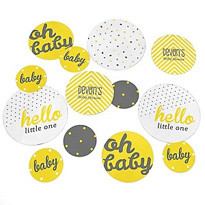 Hello Little One - Yellow and Gray - Personalized Neutral Baby Shower Giant Circle Confetti - Neutral Baby Shower Decorations - Large Confetti 27 Count