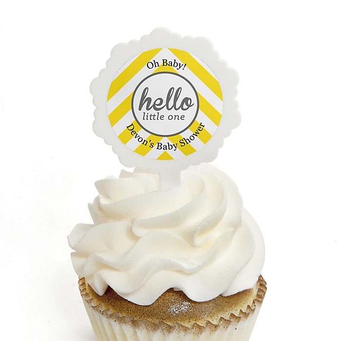 Hello Little One - Yellow and Gray - 12 Cupcake Picks & 24 Personalized Stickers - Neutral Baby Shower Cupcake Toppers