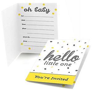 Hello Little One - Yellow and Gray - Fill In Girl Baby Shower Invitations - Set of  8