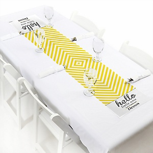 Hello Little One - Yellow and Gray - Personalized Neutral Baby Shower Petite Table Runner