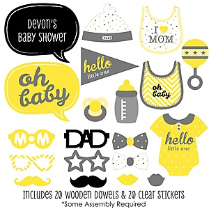Hello Little One - Yellow and Gray - 20 Piece Photo Booth Props Kit
