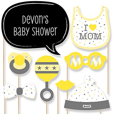 Hello Little One   Yellow And Gray   Girl Baby Shower Photo Booth Props Kit    20 Props