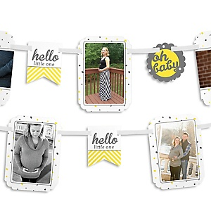 Hello Little One - Yellow and Gray - Neutral Baby Shower Photo Garland Banners