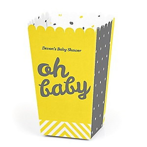 Hello Little One - Yellow and Gray - Personalized Neutral Baby Shower Popcorn Favor Treat Boxes - Set of 12