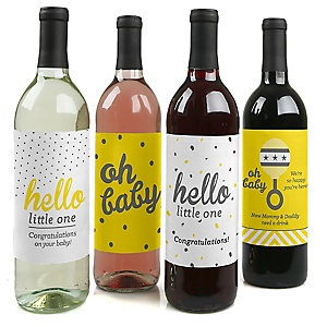 Hello Little One - Yellow and Gray - Wine Bottle Labels Baby Gift - Set of 4