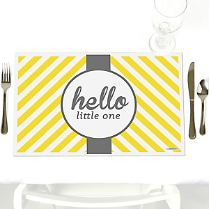 Hello Little One - Yellow and Gray - Party Table Decorations - Neutral Baby Shower Placemats - Set of 12