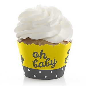Hello Little One - Yellow and Gray - Neutral Baby Shower Cupcake Wrappers & Decorations