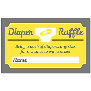 Hello Little One - Yellow and Gray - Diaper Raffle Neutral Baby Shower Game - 18 ct