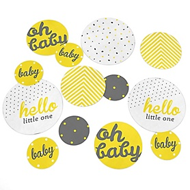 Hello Little One - Yellow and Gray - Neutral Baby Shower Giant Circle Confetti - Neutral Baby Shower Decorations - Large Confetti 27 Count