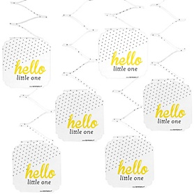 Hello Little One - Yellow and Gray - Neutral Baby Shower Hanging Decorations - 6 ct