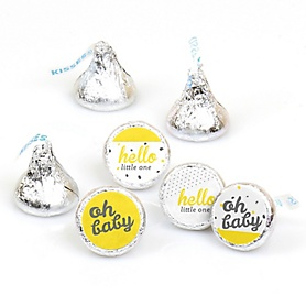 Hello Little One - Yellow and Gray - Round Candy Labels Party Favors - Fits Hershey's Kisses - 108 ct