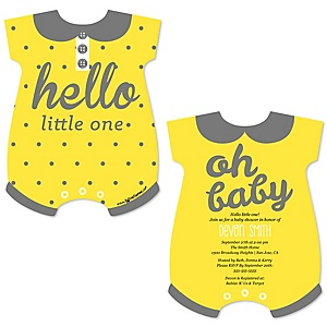 Hello Little One - Yellow and Gray - Baby Bodysuit Shaped Neutral Baby Shower Invitations - Set of 12