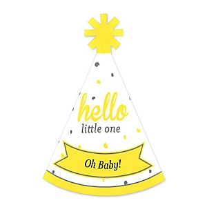 Hello Little One - Yellow and Gray - Personalized Mini Cone Baby Shower Party Hats - Small Little Party Hats - Set of 10