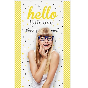 """Hello Little One - Yellow and Gray - Neutral Personalized Baby Shower Booth Backdrops - 36"""" x 60"""""""