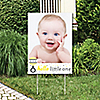 Hello Little One - Yellow and Gray - Photo Yard Sign - Neutral Baby Shower Party Decorations