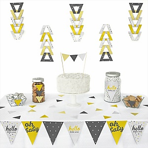 Hello Little One - Yellow and Gray -  Triangle Neutral Baby Shower Decoration Kit - 72 Piece