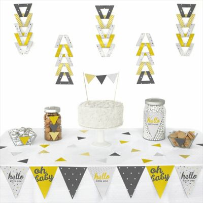 Hello Little One   Yellow And Gray   72 Piece Triangle Neutral Baby Shower  Decoration Kit