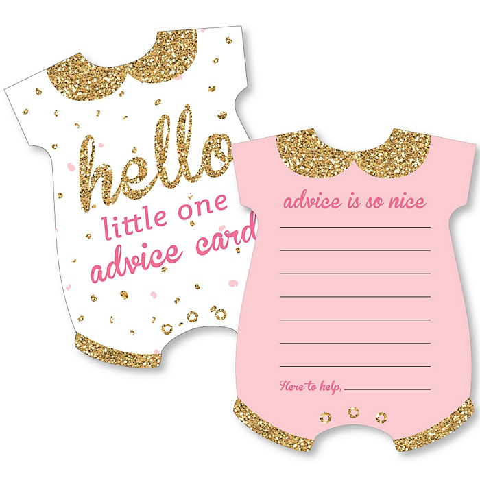Hello Little One - Pink and Gold - Baby Bodysuit Wish Card Girl Baby Shower Activities - Shaped Advice Cards Game - Set of 20