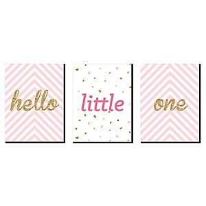 "Hello Little One - Pink and Gold - Baby Girl Nursery Wall Art and Kids Room Décor - 7.5"" x 10"" - Set of 3 Prints"