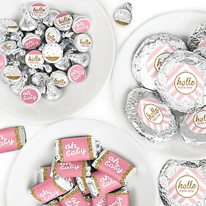 Hello Little One - Pink and Gold - Mini Candy Bar Wrappers, Round Candy Stickers and Circle Stickers - Girl Baby Shower Candy Sticker Favor Kit - 304 Pieces