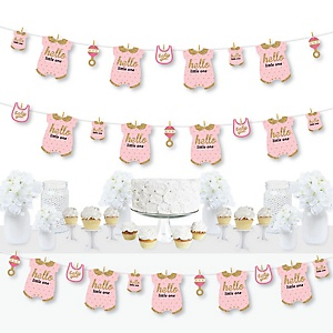 Hello Little One - Pink and Gold - Girl Baby Shower DIY Decorations - Clothespin Garland Banner - 44 Pieces