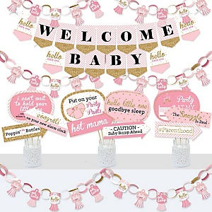 Hello Little One - Pink and Gold - Banner and Photo Booth Decorations - Girl Baby Shower Supplies Kit - Doterrific Bundle