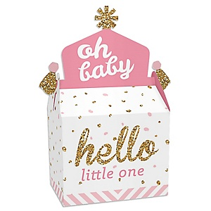 Hello Little One - Pink and Gold - Treat Box Party Favors - Girl Baby Shower Goodie Gable Boxes - Set of 12