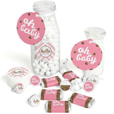 Hello Little One   Pink And Gold   Girl Baby Shower Decorations Favor Kit    Party Stickers U0026 Tags   172 Pcs