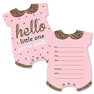 Hello little one pink and gold girl baby shower theme girl themes hello little one pink and gold shaped fill in invitations girl baby filmwisefo