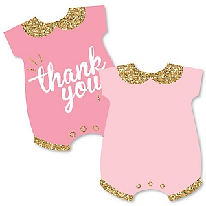 Hello Little One - Pink and Gold - Shaped Thank You Cards - Girl Baby Shower Thank You Note Cards with Envelopes - Set of 12
