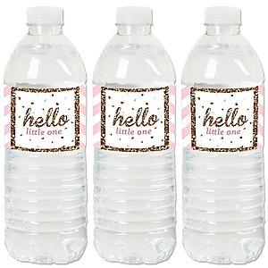 Hello Little One - Pink and Gold - Girl Baby Shower Water Bottle Sticker Labels - Set of 20
