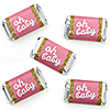 Hello Little One - Pink and Gold - Mini Candy Bar Wrapper Stickers - Girl Baby Shower Small Favors - 40 Count